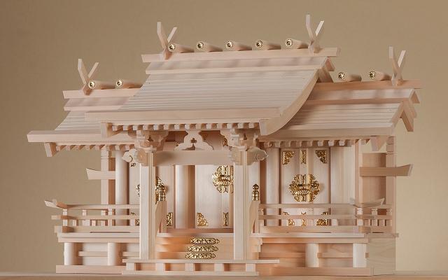 御嶽 特大三社 (木曽ひのき) 横巾76×高さ49cm 【神棚】 ●お仏壇・仏具の浜屋