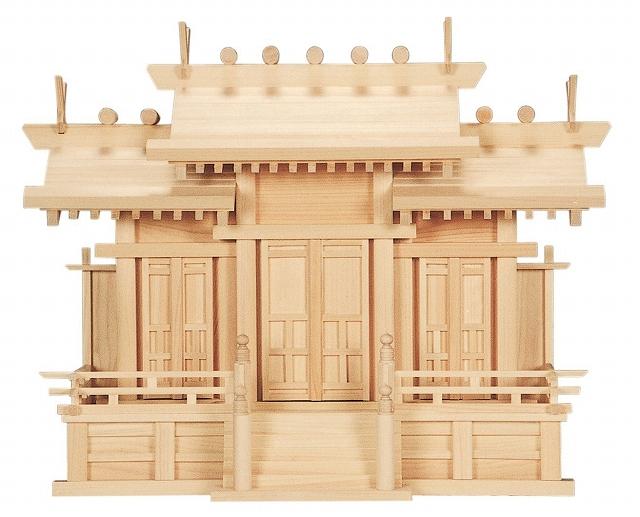 唐戸三社・中 (ひのき) 総ひのき仕上 横巾64×高さ49cm 【神棚】 ●お仏壇・仏具の浜屋