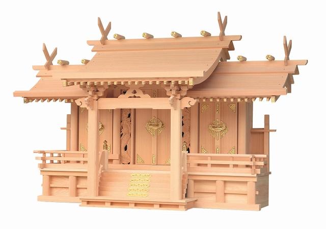 竜付平安三社 (木曽ひのき) 横巾95×高さ62cm 【神棚】 ●お仏壇・仏具の浜屋
