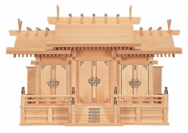 特大三社 (木曽ひのき) 横巾94×高さ64cm 【神棚】 ●お仏壇・仏具の浜屋