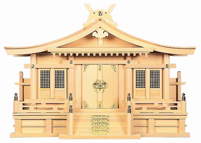 切妻三社 (木曽ひのき) 横巾72×高さ51cm 【神棚】 ●お仏壇・仏具の浜屋