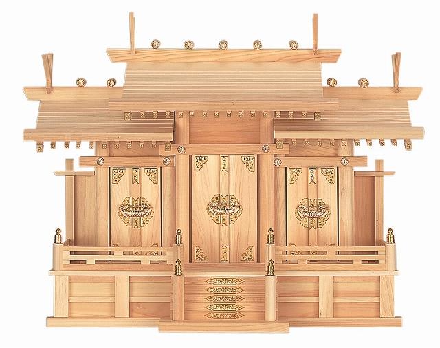 屋根違い三社・中 (ひのき) 横巾64×高さ49cm 【神棚】 ●お仏壇・仏具の浜屋