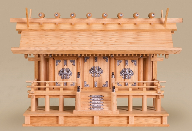 愛宕通し屋根三社 (本けやき) 横巾80×高さ53cm 【神棚】 ●お仏壇・仏具の浜屋