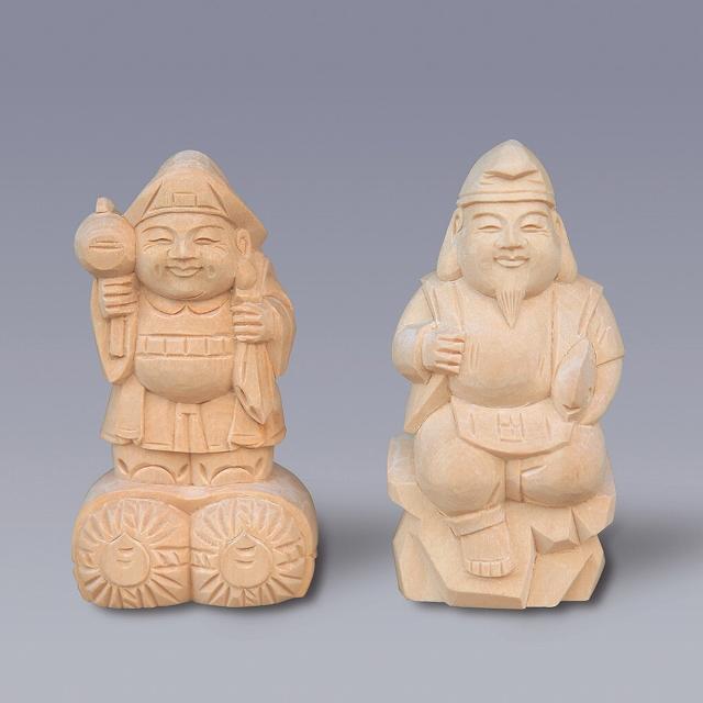 木彫恵比寿大黒 4寸 【神具】 ●お仏壇・仏具の浜屋