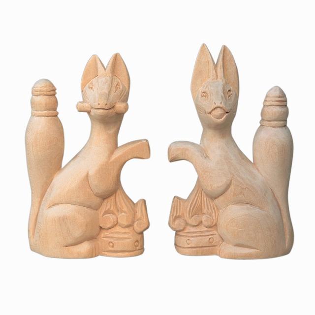 【200円クーポン配布 8/2~9】木彫きつね 3寸 【神具】 ●お仏壇・仏具の浜屋