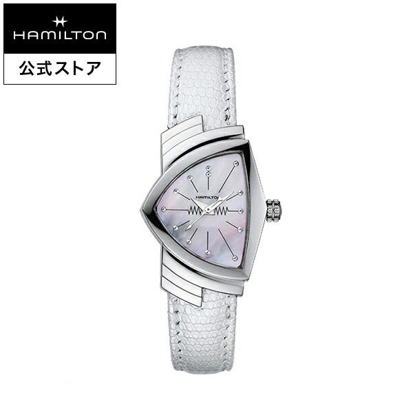 ハミルトン 公式 腕時計 Hamilton Ventura ベンチュラ レディース レザー | 正規品 時計 レディース腕時計 ブランド ホワイト 革ベルトウォッチ クォーツ ウォッチ watch クオーツ 女性 プレゼント ベンチュラー 女性用腕時計 イエローゴールド