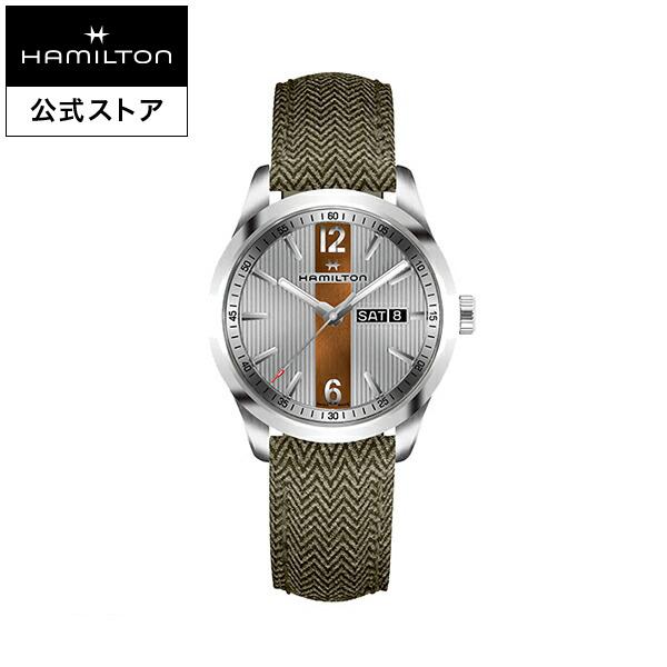 ハミルトン 公式 腕時計 Hamilton Broadway Day Date ブロードウェイ デイデイト メンズ テキスタイル | 正規品 時計 メンズ腕時計 クォーツ ブランド腕時計 ベルト ウォッチ クオーツ watch グリーン 男性 紳士 プレゼント メンズウォッチ 大人 クォーツ腕時計 ギフト