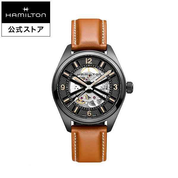 ハミルトン 公式 腕時計 Hamilton Khaki Skeleton カーキ フィールド スケルトン メンズ レザー   正規品 時計 メンズ腕時計 自動巻き 革ベルト ウォッチ 自動巻 ブランド腕時計 機械式 おしゃれ 男性腕時計 watch 革 男性 プレゼント レザーベルト ブラウン