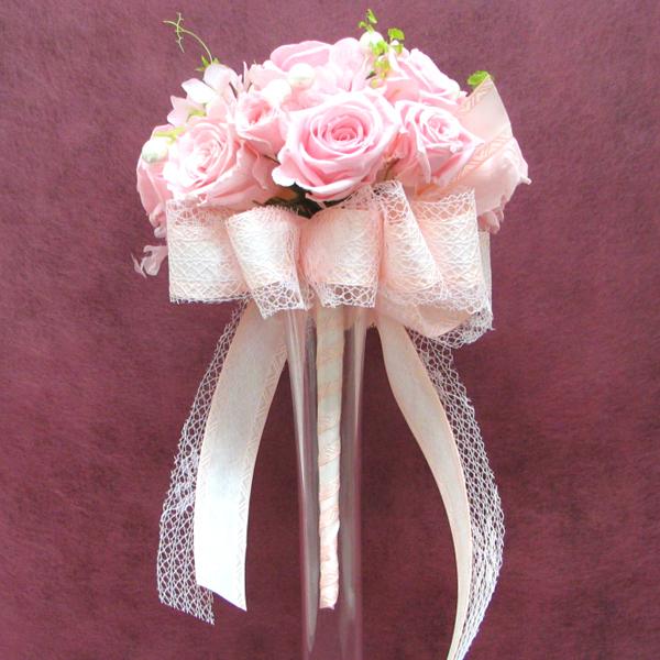 送料無料(一部地域を除く)【只今プレゼント付き】 ラウンドブーケ オーダーメイド【Sweet Pink】直径約15cm パール&リボンプリザーブド・ブーケ ブライダルブーケ