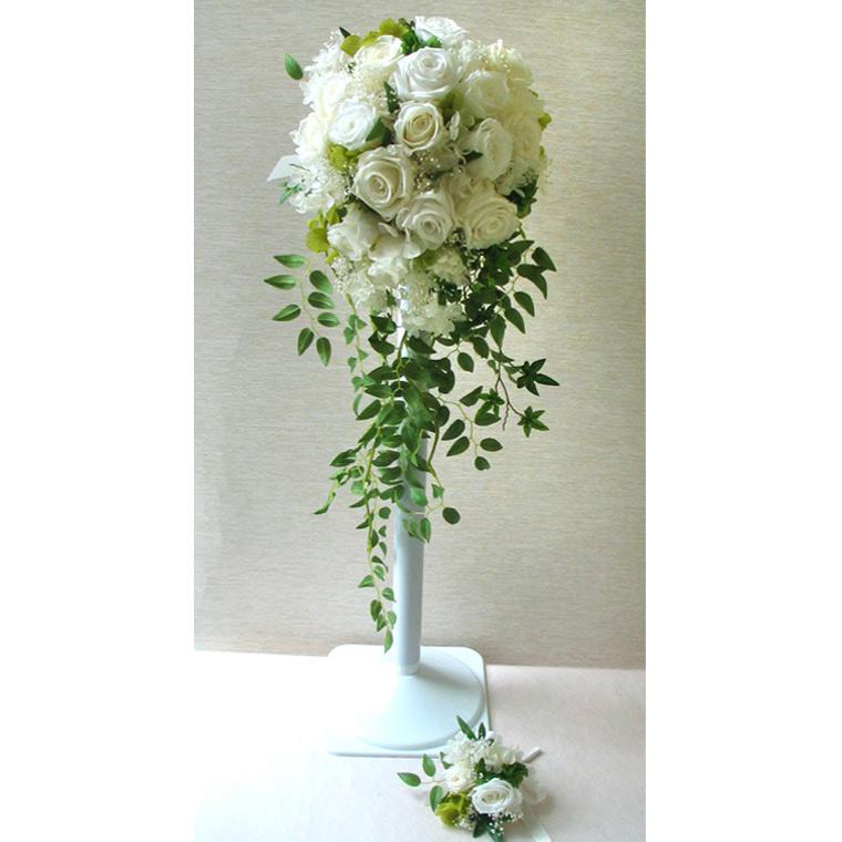 送料無料(一部地域を除く)【只今プレゼント付き】キャスケードブーケ オーダーメイド【ナチュラル】 W18cm×H50cm パーティー・結婚式・結婚 ブーケ