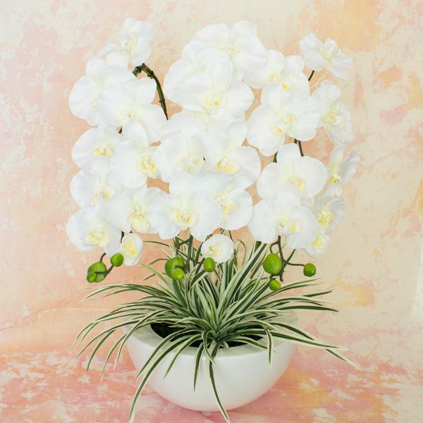 半球鉢 胡蝶蘭 3本株立ち ホワイトアートフラワー高さ55cm×幅35cm×奥行35cm※ギフトラッピング希望とご記入下さい。(無料)