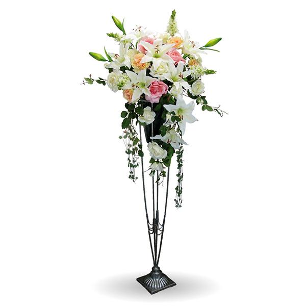 スタンド カサブランカ お祝い花 アレンジアートフラワー(造花)消臭抗菌 光触媒orテルクリン選択可高さ約153cm