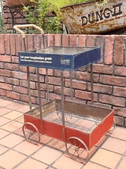 ガーデニング ガーデン 雑貨 三輪車 インテリア アイアン 寄せ植え アンティーク『アンティーク風♪ステップ カート』