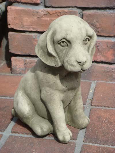 ガーデニング ガーデン 犬 ドッグ アニマル イングリッシュ 英国 ストーン製【花遊び】『English Small Sitting Puppy』
