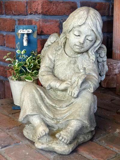 エンジェル 小鳥 イングリッシュ 英国 ガーデニングガーデン ストーン製 送料無料【花遊び】『English Angel with Bird』