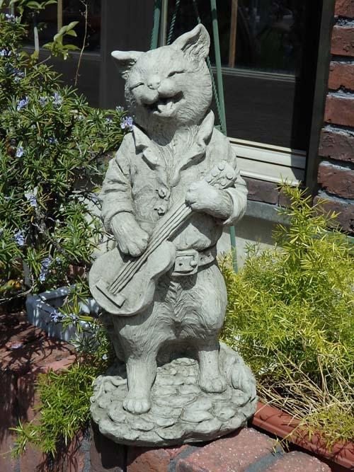ガーデニング ガーデン いぬ 猫 イングリッシュ 英国 雑貨 ストーン製【花遊び】 『English Musical Cat・C』