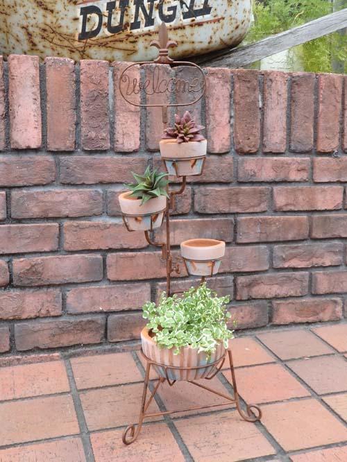 ガゼボ 鳥かご 小鳥 ガーデニング ガーデン雑貨 アンティーク アイアン 寄せ植え【花遊び】『テラコッタポット♪スタンド』