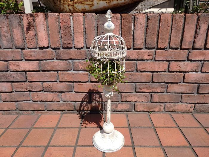 ガゼボ 鳥かご 小鳥 ガーデニング ガーデン雑貨 アンティーク アイアン 寄せ植え【花遊び】『ブラン・スタンドケージ』