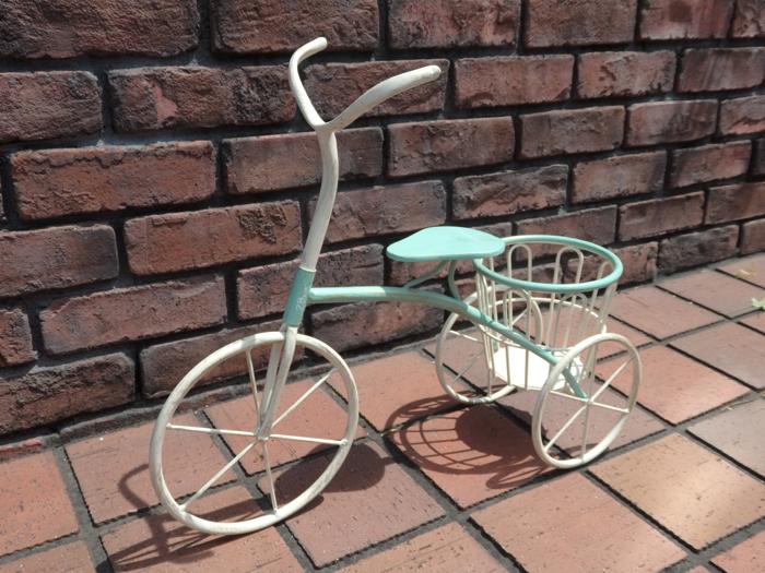 三輪車 ポット インテリア プランター アイアンガーデニング ガーデン 雑貨 アンティーク【花遊び】『ガーデン!ブルー三輪車・L』