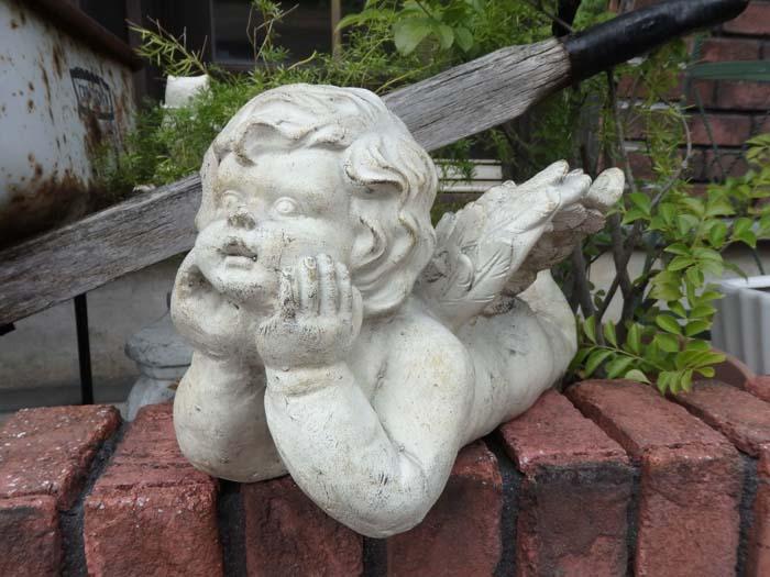 エンジェル 天使 オーナメント インテリアガーデニング ガーデン 雑貨 アンティーク【花遊び】『ストーン調!ラブリー♪エンジェル』