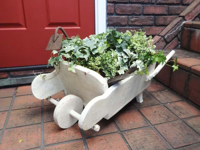 車輪 ガーデニング ガーデン 雑貨 アンティーク『Antique Garden White Barrow』