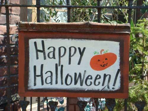 ハロウィン かぼちゃ パンプキン オーナメントガーデニング ガーデン アンティーク 送料無料【花遊び】『アンティークサイン・Happy Halloween』