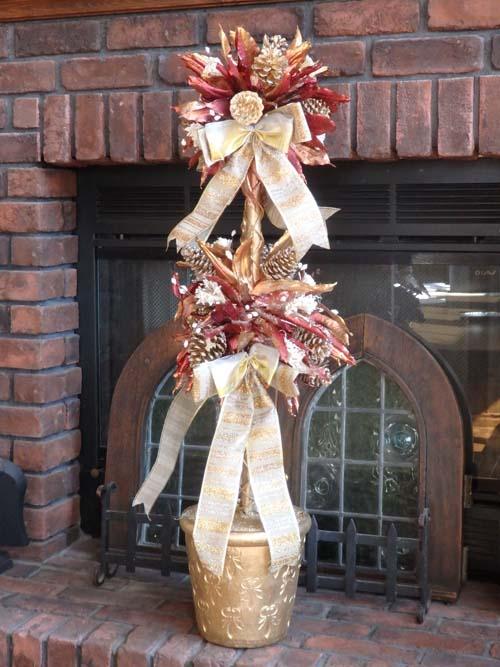 クリスマス サンタ スノーマン ツリーオーナメント ベル ガーデニング ガーデン アンティーク【花遊び】『Mango Leaf トピアリー』