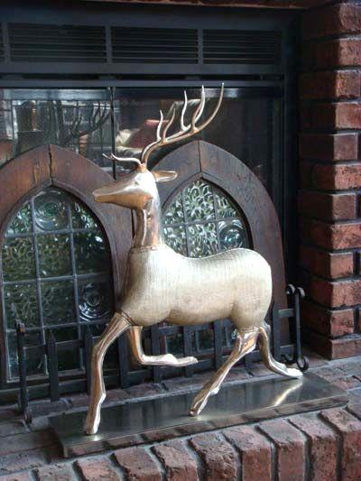 クリスマス サンタ スノーマン トナカイツリー イルミネーション ポインセチアオーナメント ポプリ ベル ガーデニングガーデン アンティーク【花遊び】『Antique Deer Running』