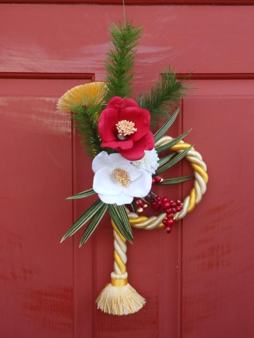 お正月 リース ガーデニング ガーデン 雑貨『紅白椿♪タッセル飾り』