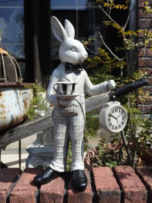 うさぎ ラビット バード 置物 樹脂 アニマル動物 雑貨 ガーデニング ガーデン【花遊び】『ラビット ジェントルマン・時計』