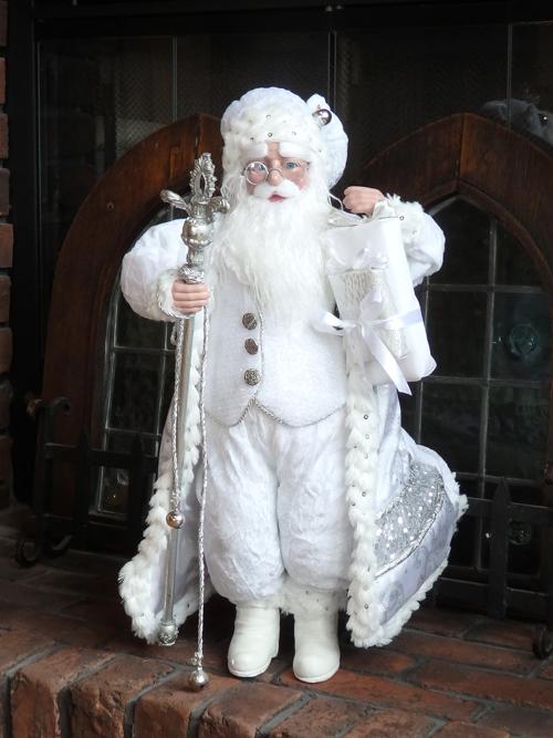 クリスマス サンタ スノーマン トナカイ ツリーガーデニング ガーデン アンティーク【花遊び】『スタンディング デコレーション サンタ・ホワイト』