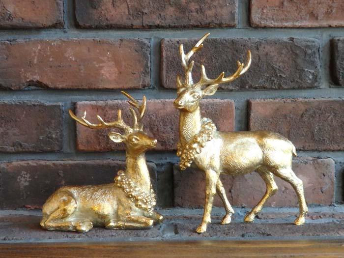 ガーデニング ガーデン クリスマス トナカイ アンティーク『ゴールド!レインディアデコ』