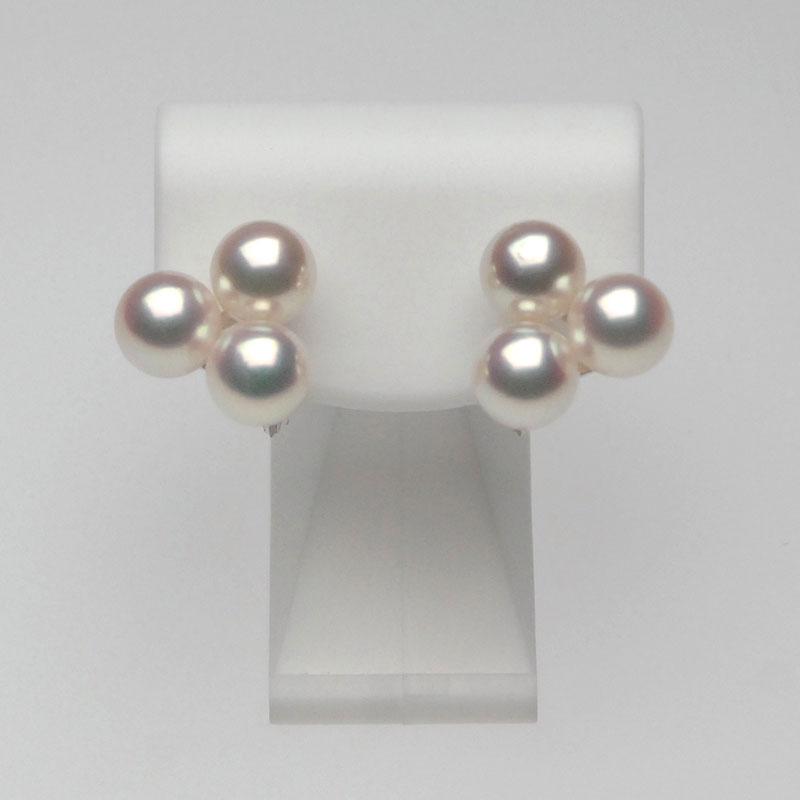 【売れ筋】 アコヤ真珠イヤリング 7.5mm-8.0mm ピンクグリーン系 商品番号:PE9-0014, ファッショングッズストアーズ 76495405