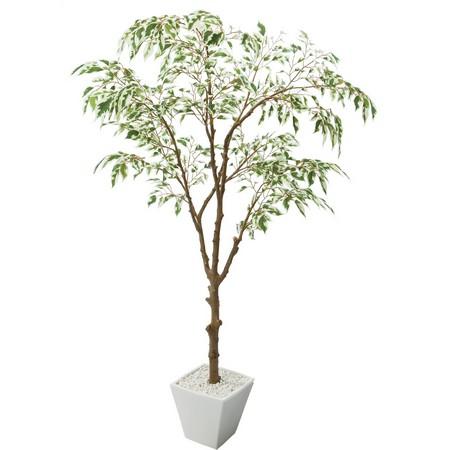 【直送】【人工観葉植物】YDM/フイリフィカスツリーポット グリーン/GLA1310-GR※返品・代引・キャンセル不可【01】