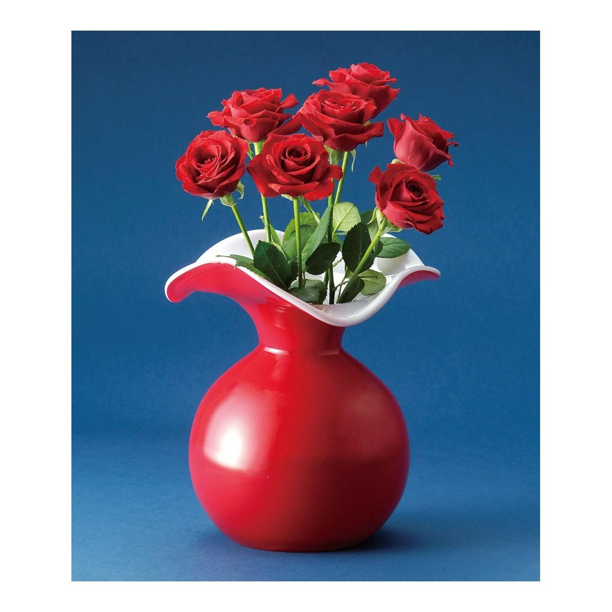 LEO/フラワーベース レッド/F-2370【01】【取寄】《 花器、リース 花器・花瓶 ガラス花器 》