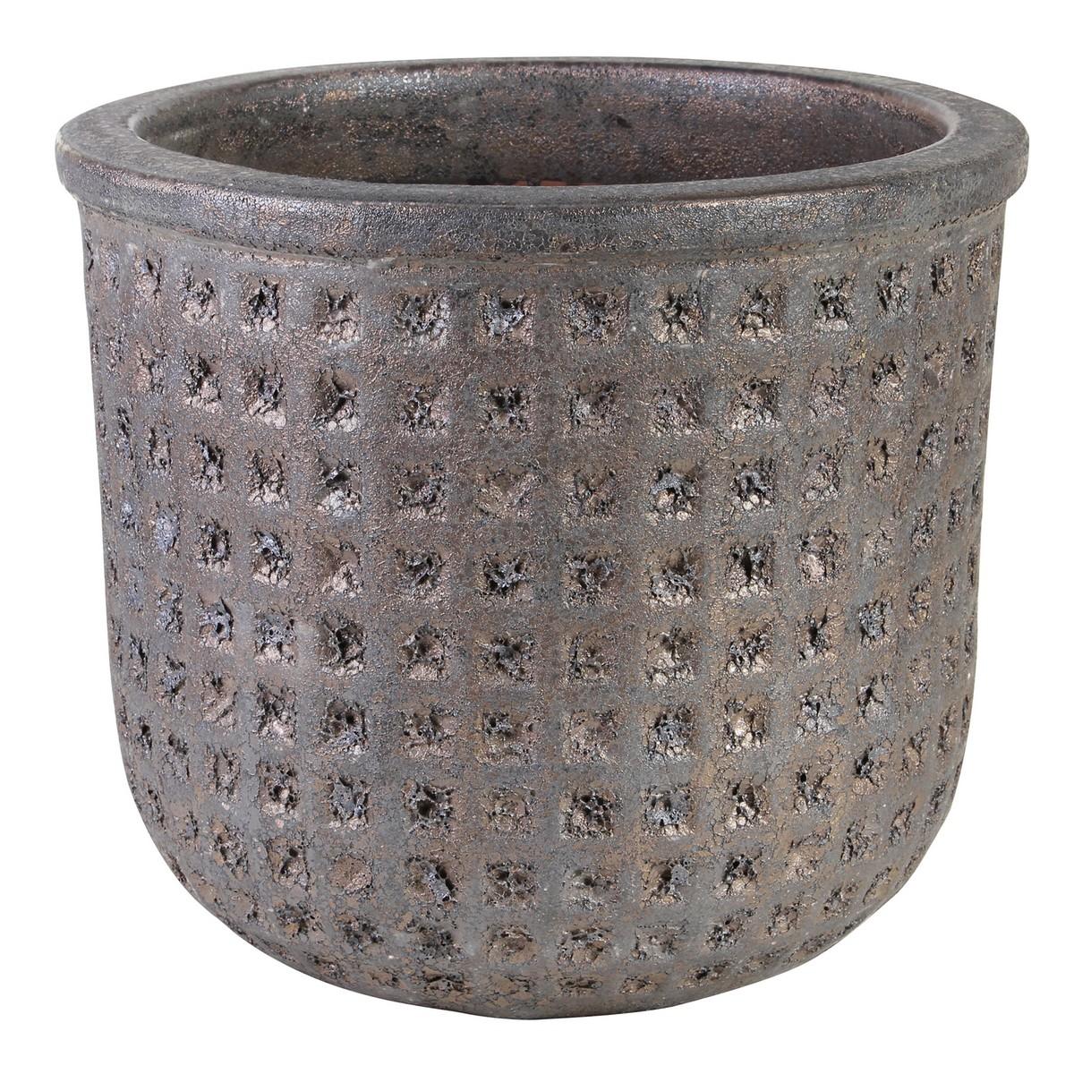 【直送】PTMD/Seco bronze ceramic round pot/667420※返品・代引・キャンセル不可【01】