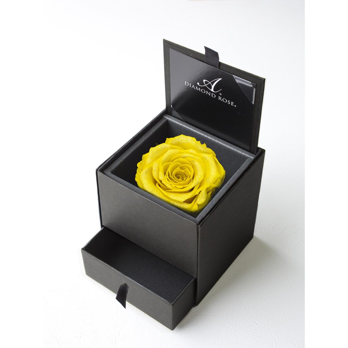 【プリザーブドフラワー】アモローサ/ダイヤモンドローズボックス 90(箱:マットブラック) シトラスイエロー/1207-41【07】【取寄】[6箱]