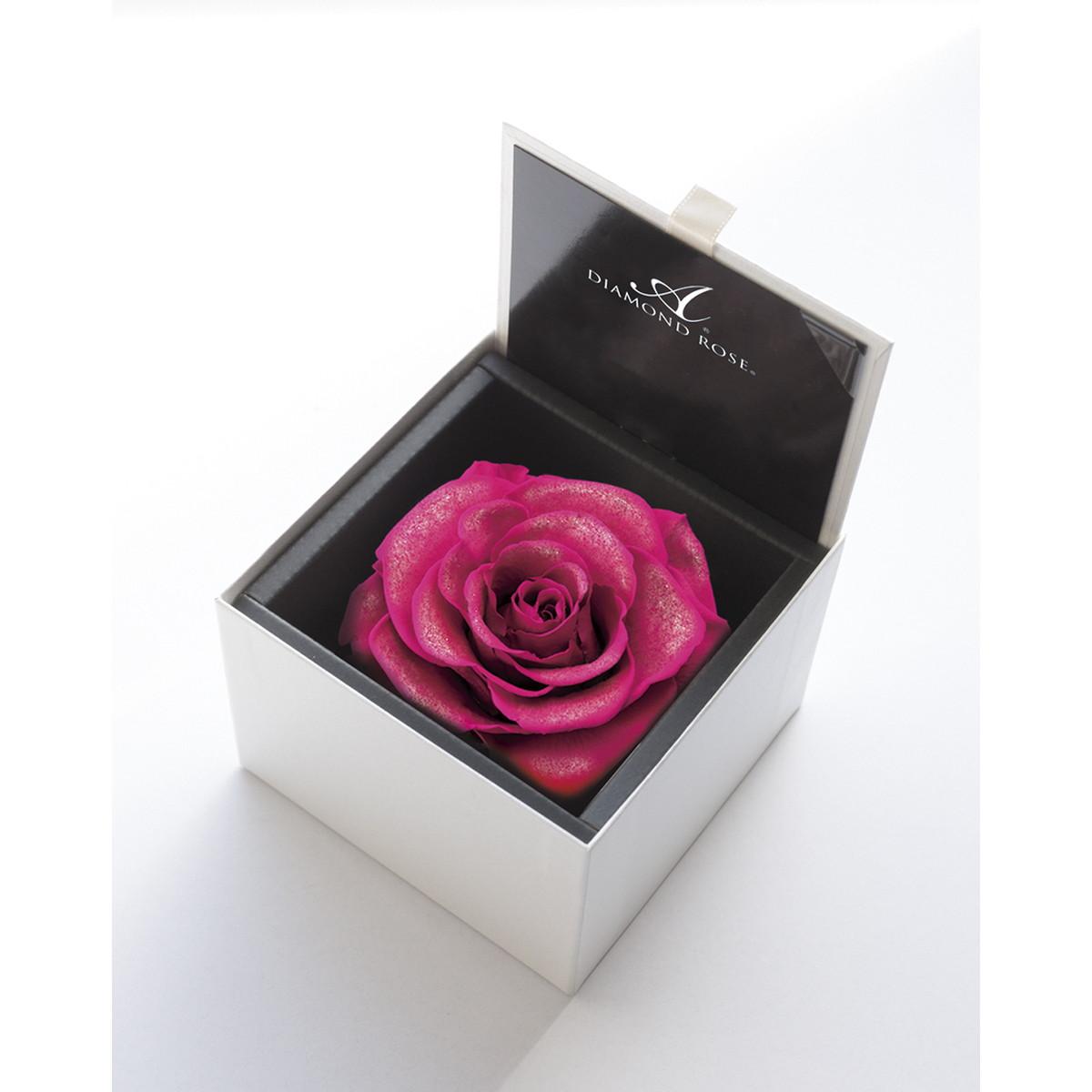 【プリザーブドフラワー】アモローサ/ダイヤモンドローズボックス 105(箱:ホワイト) ホットピンク/1206-12【07】【取寄】[6箱]