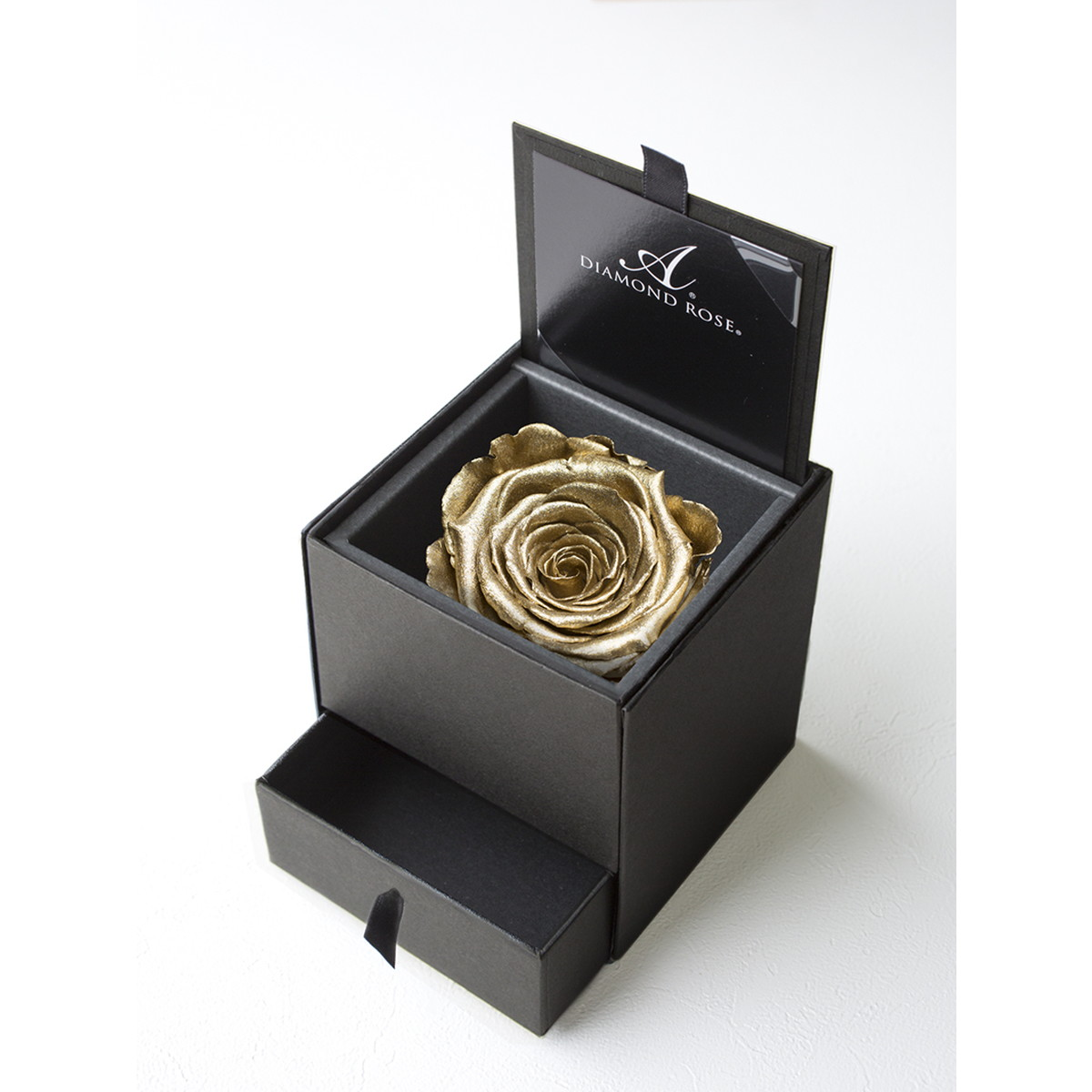 【プリザーブドフラワー】アモローサ/ダイヤモンドローズボックス 90(箱:マットブラック) ゴールド/1207-99【07】【取寄】[6箱]