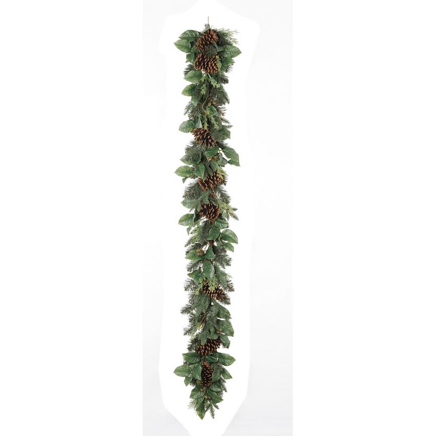 【造花】アスカ/ミックスリーフガーランド/AX69254【01】【01】【取寄】《 花器、リース リース土台 スワッグ 》