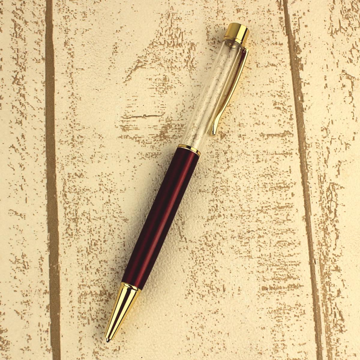 ハーバリウム ボールペン ボールペン 手作り 材料 即日 ハーバリウムボールペン(金クリップ) ワインレッド ハーバリウム ボールペン ボールペン 手作り 材料