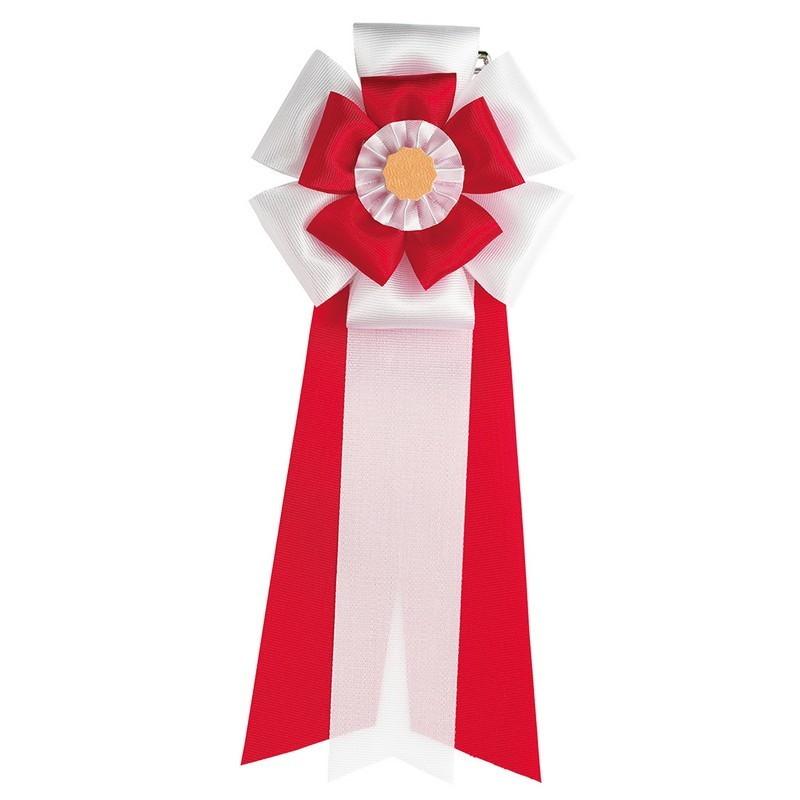 東京リボン/リボン徽章・五方ダブル M 19cm×8cm(50個入) 2 赤/81012-2【01】【取寄】
