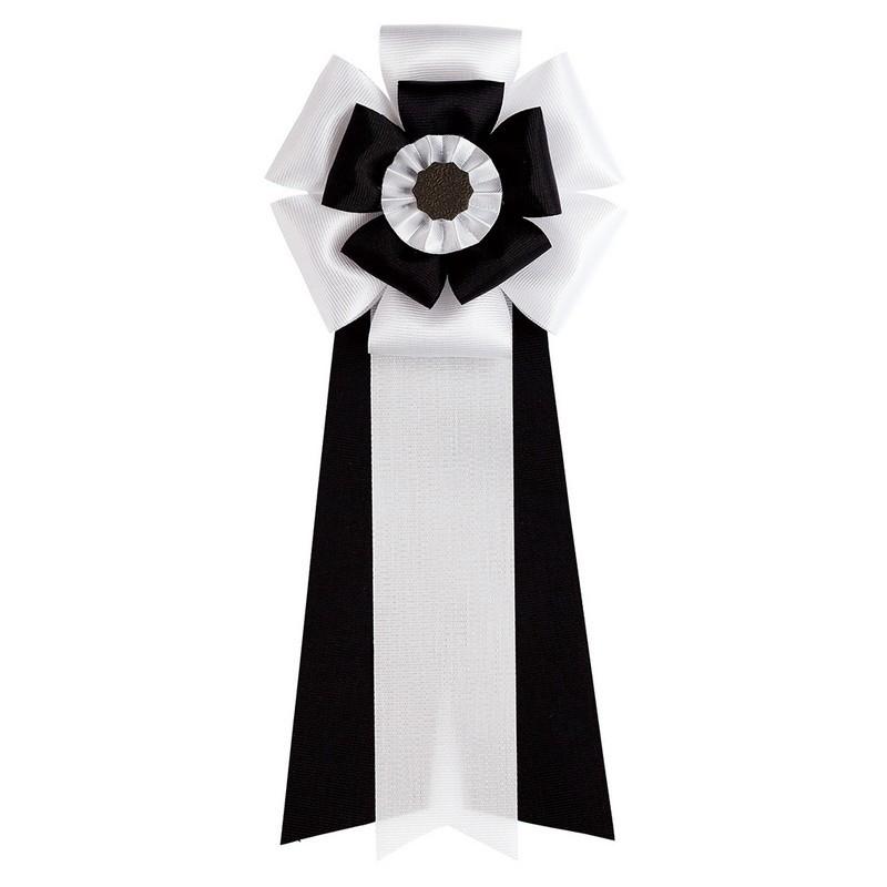 東京リボン/リボン徽章・五方ダブル M 19cm×8cm(50個入) 3 黒/81012-3【01】【取寄】