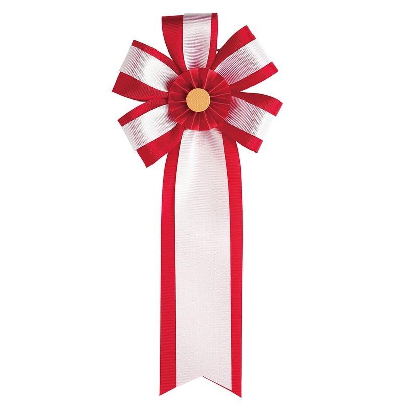 東京リボン/リボン徽章・旭光ダブル M 16cm×7cm(100個入) 2 赤/81011-2【01】【取寄】