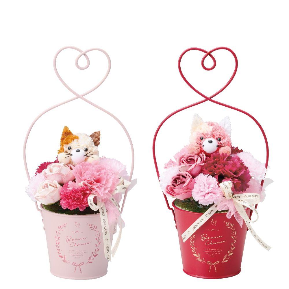 【造花】GREENHOUSE/手付きブリキアレンジS キュートキャット 2種×各3/MA033S【01】【取寄】[6個]