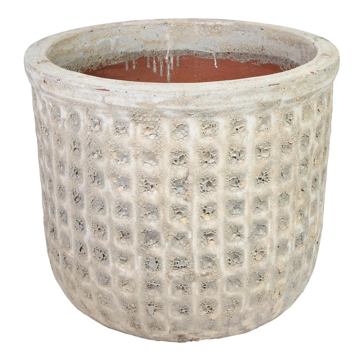 PTMD/Seco Antique white ceramic Pot/681491【01】【取寄】
