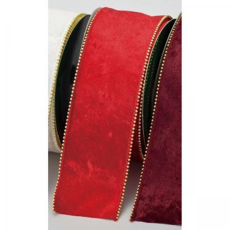 リボン 人気海外一番 シーズナルリボン クリスマスリボン 手作り 材料 海外限定 アスカ レッド 取寄 AX69789-002 ベルベットビーズリボン 01