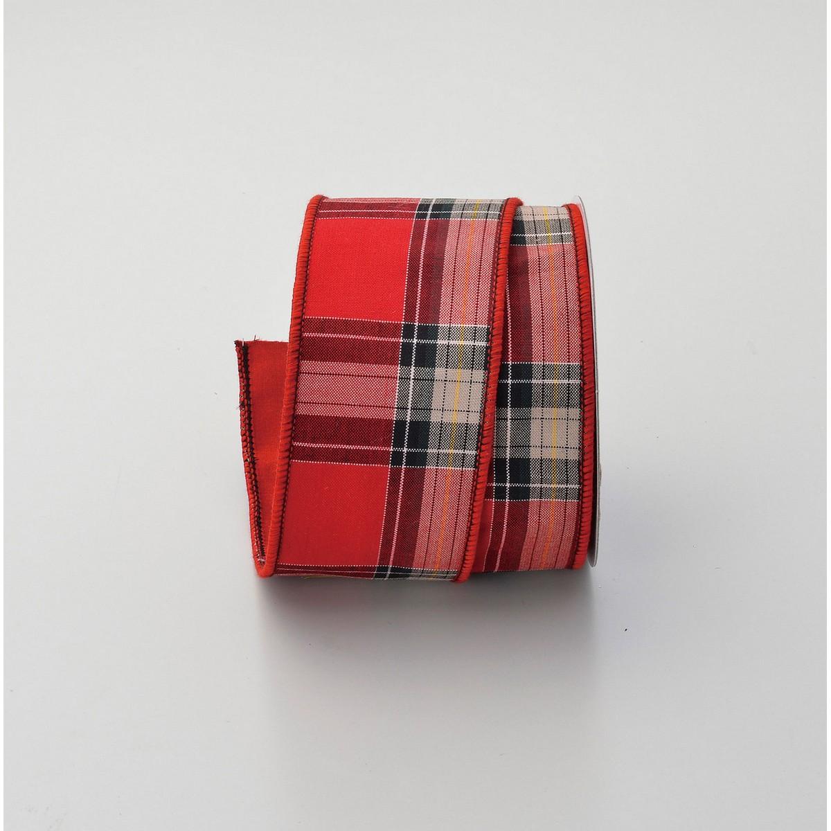 リボン シーズナルリボン クリスマスリボン 爆安 おすすめ 手作り 材料 取寄 01 AX69791-000 チェックリボン アスカ