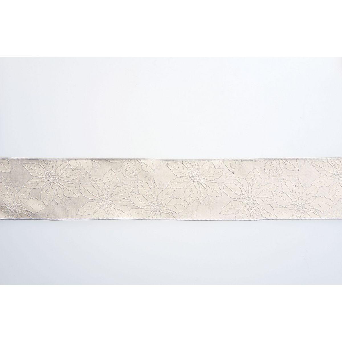 リボン シーズナルリボン クリスマスリボン アスカ ポインセチアジャガードリボン 公式ストア 01 取寄 ホワイト 価格交渉OK送料無料 AX60054-1