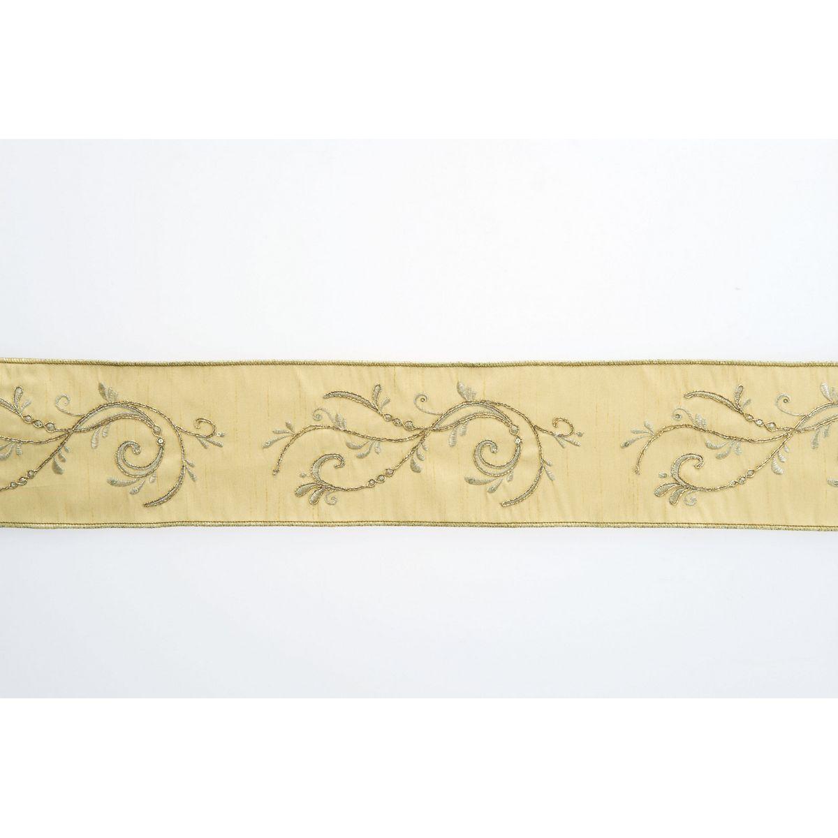 リボン シーズナルリボン クリスマスリボン 造花 アスカ 期間限定で特別価格 取寄 01 ゴールド エンブロイダリーリボン AX60056-40 日時指定